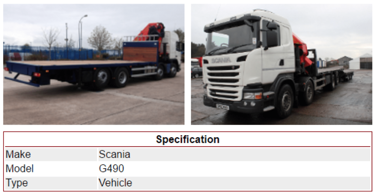Scania G490 Vehicle for hire